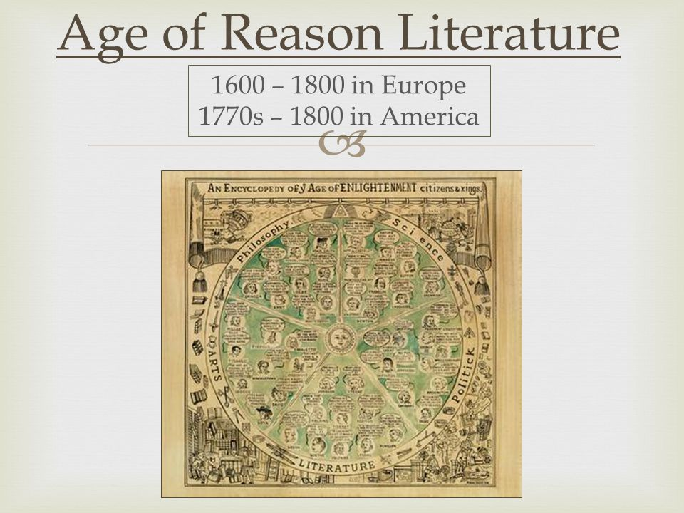  Age of Reason Literature 1600 – 1800 in Europe 1770s – 1800 in America