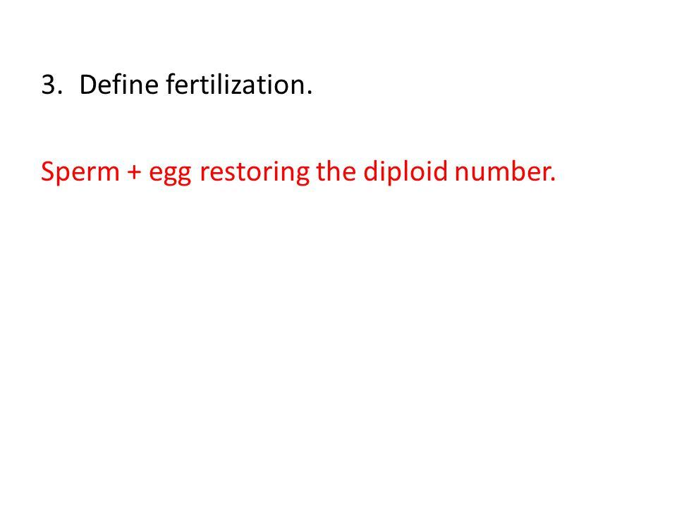 3.Define fertilization. Sperm + egg restoring the diploid number.