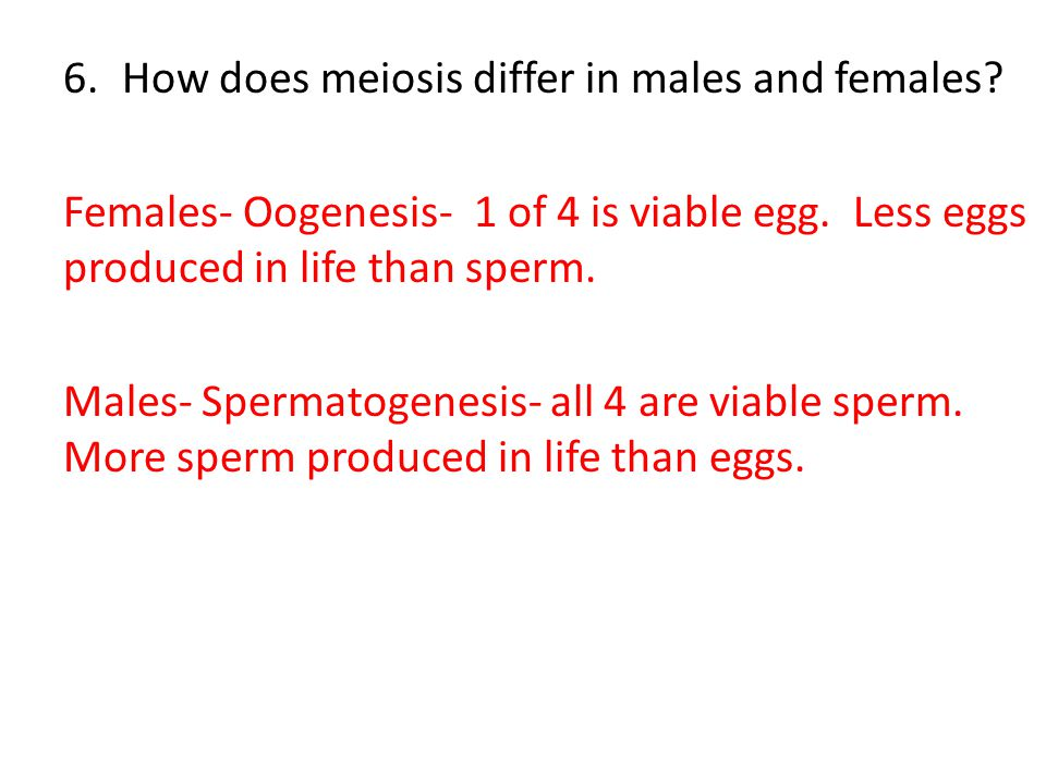 6.How does meiosis differ in males and females.Females- Oogenesis- 1 of 4 is viable egg.