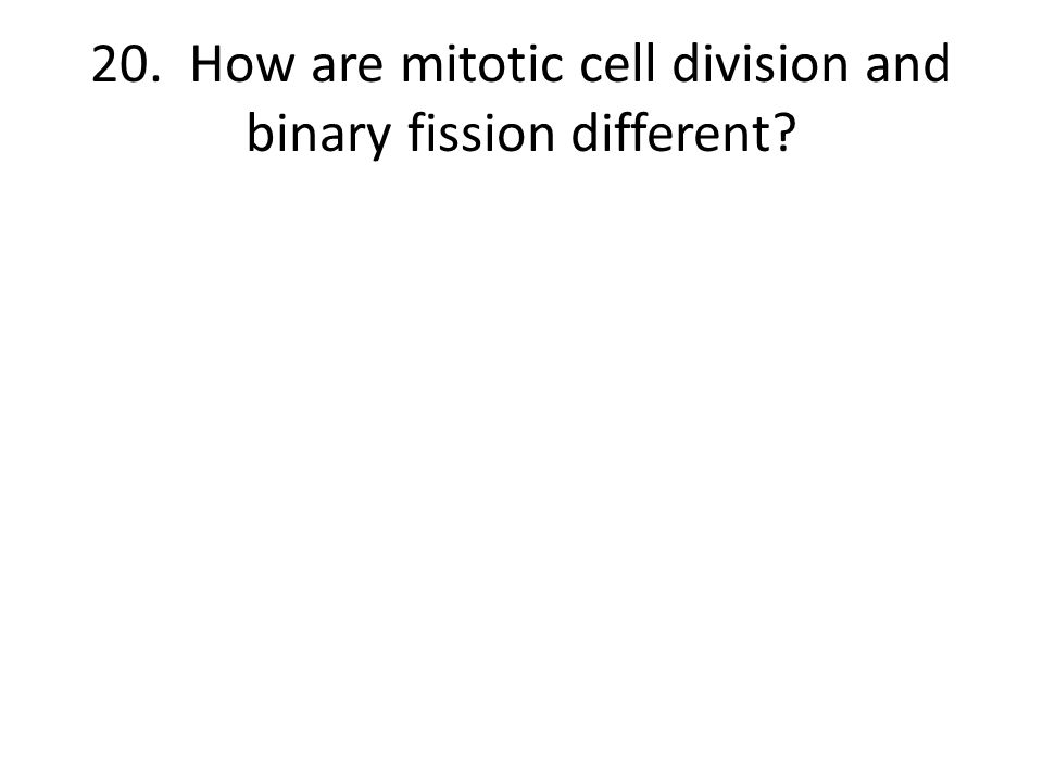 20. How are mitotic cell division and binary fission different?