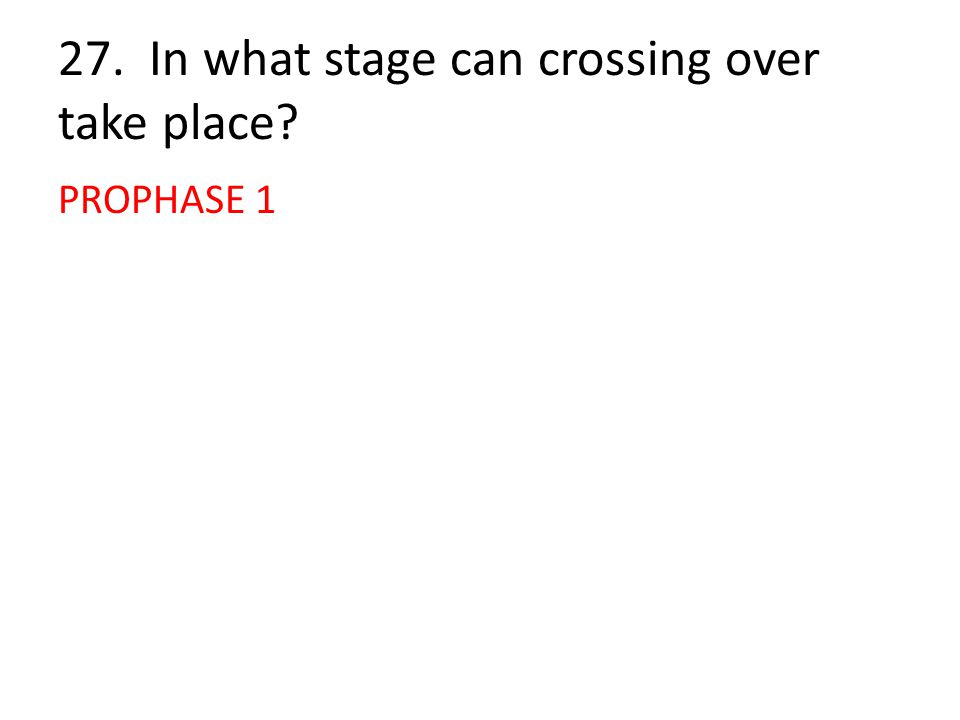 27. In what stage can crossing over take place? PROPHASE 1