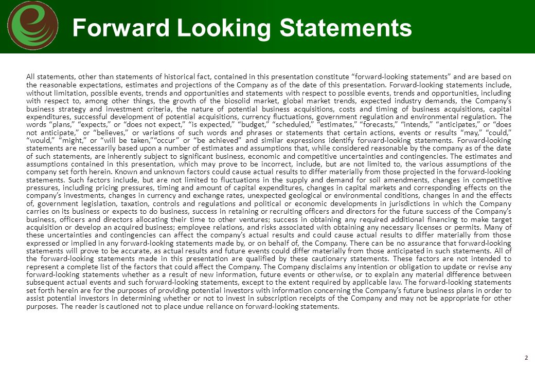 "Forward Looking Statements 2 All statements, other than statements of historical fact, contained in this presentation constitute ""forward-looking stat"