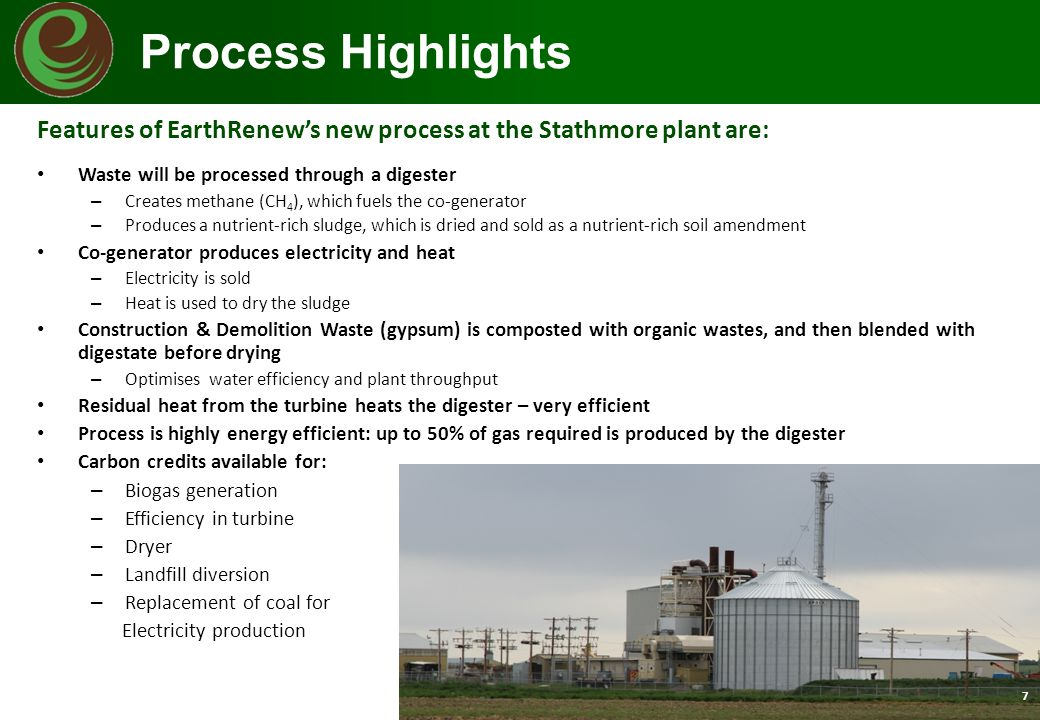 Features of EarthRenew's new process at the Stathmore plant are: Waste will be processed through a digester – Creates methane (CH 4 ), which fuels the