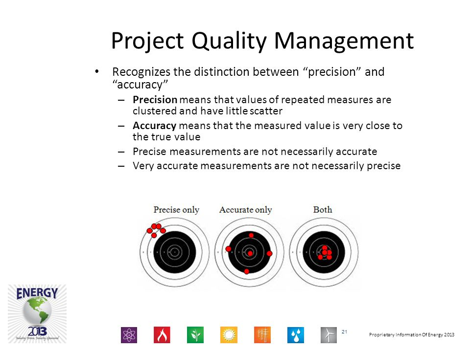 Proprietary Information Of Energy 2013 Project Quality Management Recognizes the distinction between precision and accuracy – Precision means that values of repeated measures are clustered and have little scatter – Accuracy means that the measured value is very close to the true value – Precise measurements are not necessarily accurate – Very accurate measurements are not necessarily precise 21