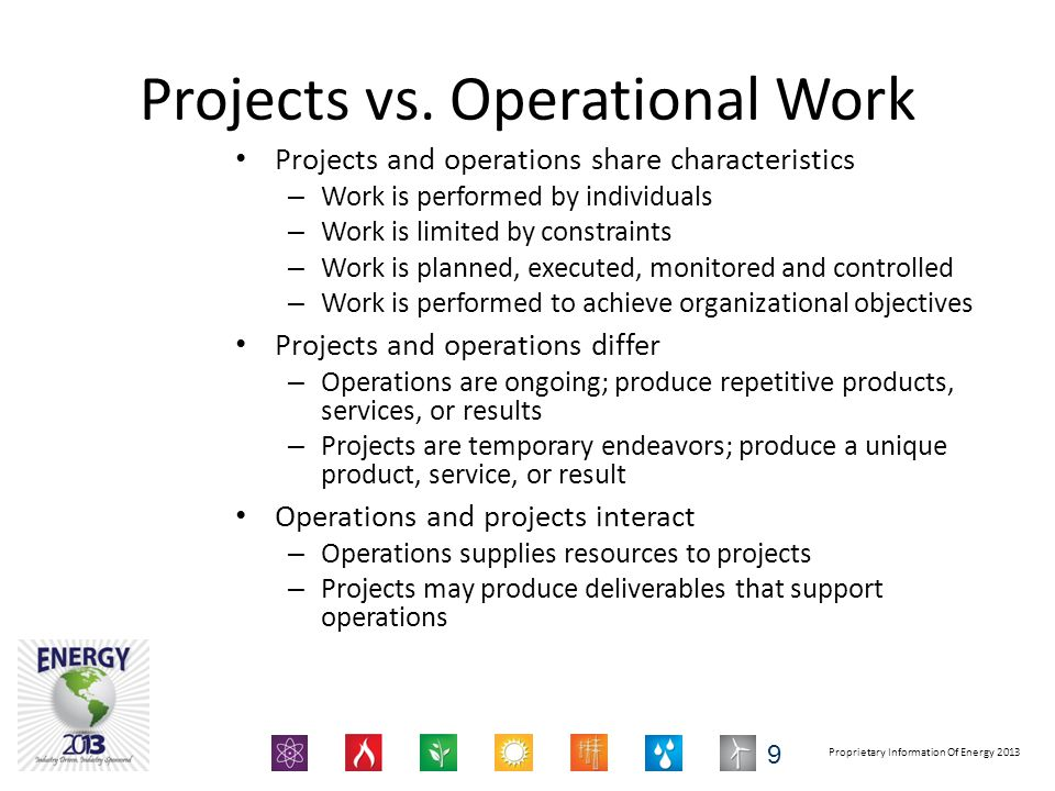 Proprietary Information Of Energy 2013 Projects vs.