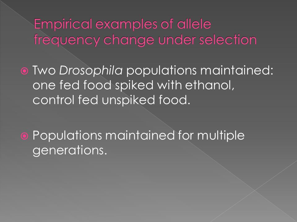  Two Drosophila populations maintained: one fed food spiked with ethanol, control fed unspiked food.