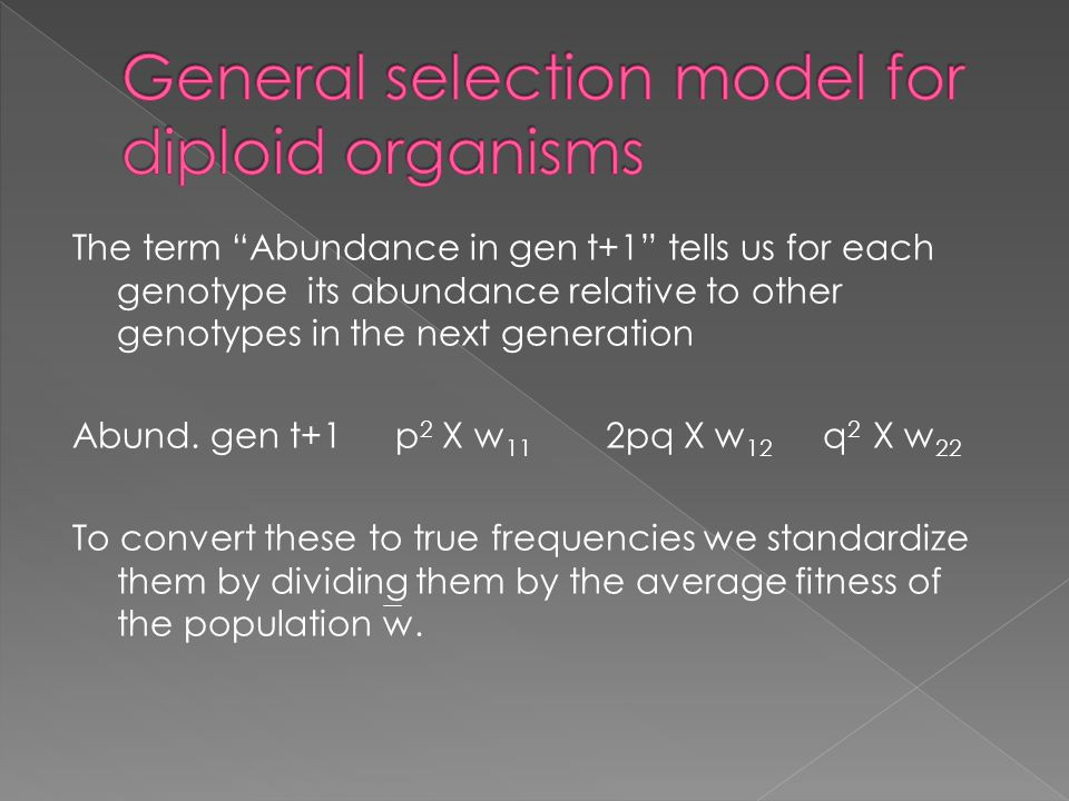 The term Abundance in gen t+1 tells us for each genotype its abundance relative to other genotypes in the next generation Abund.