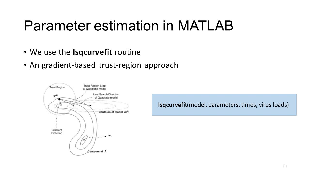 Parameter estimation in MATLAB We use the lsqcurvefit routine An gradient-based trust-region approach 10 lsqcurvefit(model, parameters, times, virus loads)