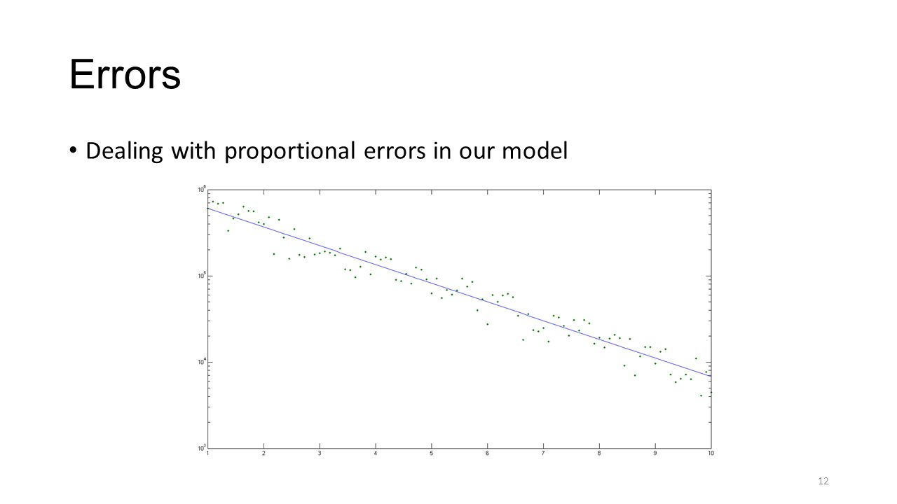 Errors Dealing with proportional errors in our model 12