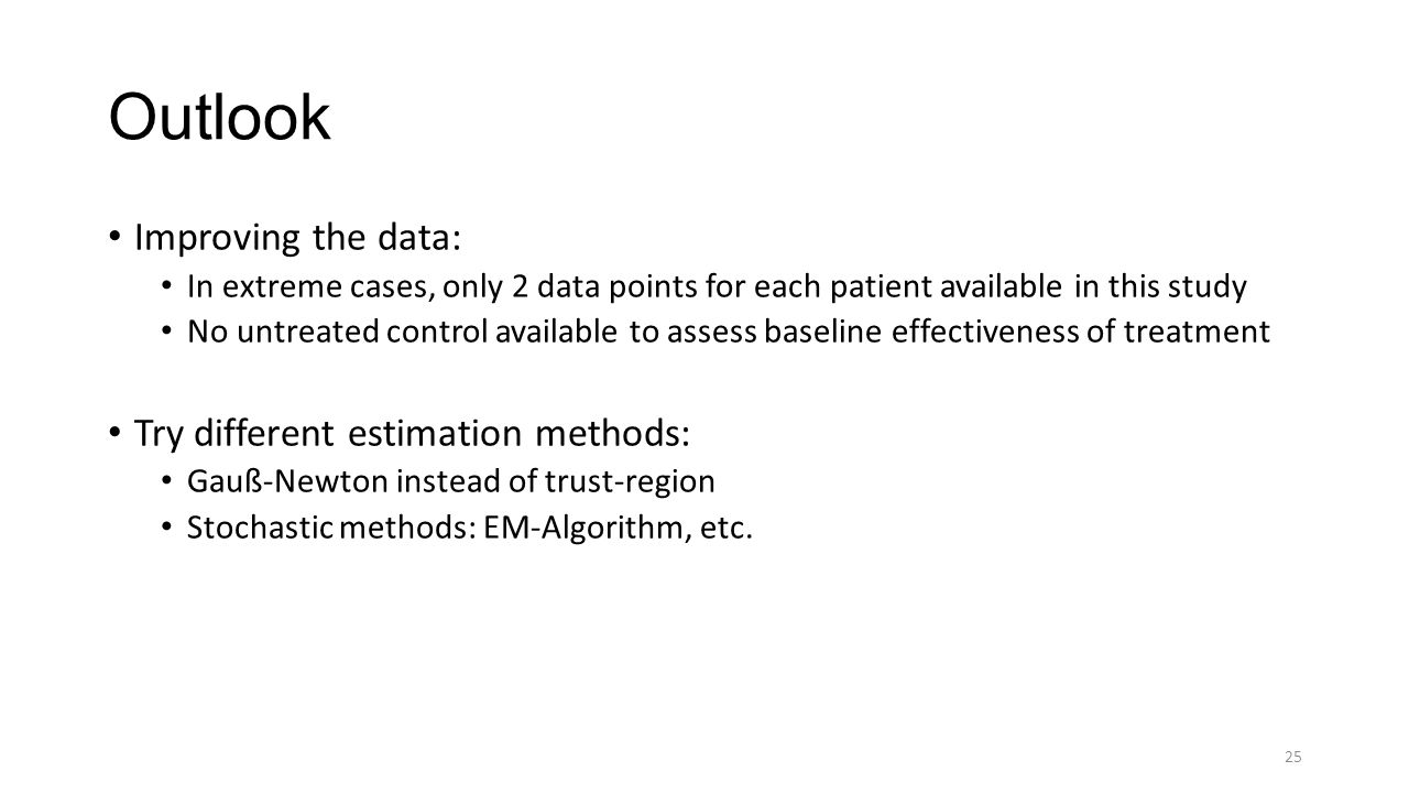 Outlook Improving the data: In extreme cases, only 2 data points for each patient available in this study No untreated control available to assess baseline effectiveness of treatment Try different estimation methods: Gauß-Newton instead of trust-region Stochastic methods: EM-Algorithm, etc.