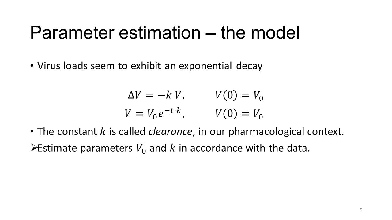 Parameter estimation – the model 5