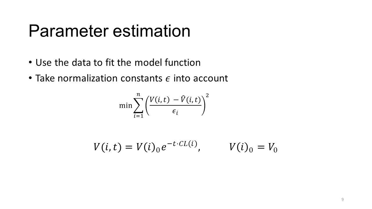 Parameter estimation in MATLAB We use the lsqcurvefit routine An gradient-based trust-region approach 10 lsqcurvefit(model, parameters, times, virus loads)