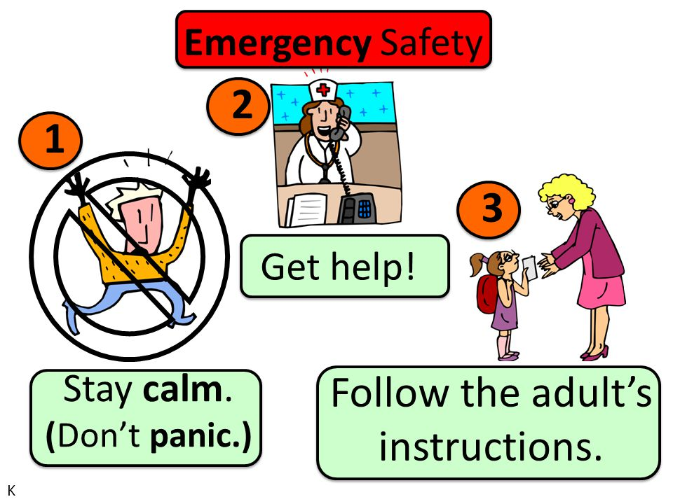 Emergency Safety Get help! Stay calm. (Don't panic.) Follow the adult's instructions. 1 2 3 K