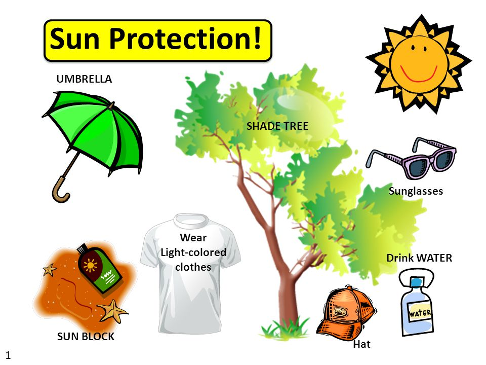 Sun Protection! UMBRELLA SHADE TREE Wear Light-colored clothes Drink WATER SUN BLOCK Sunglasses Hat 1
