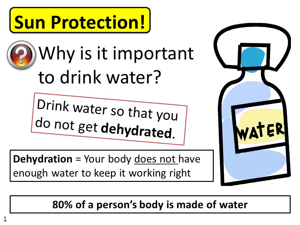 Sun Protection. 1 Why is it important to drink water.