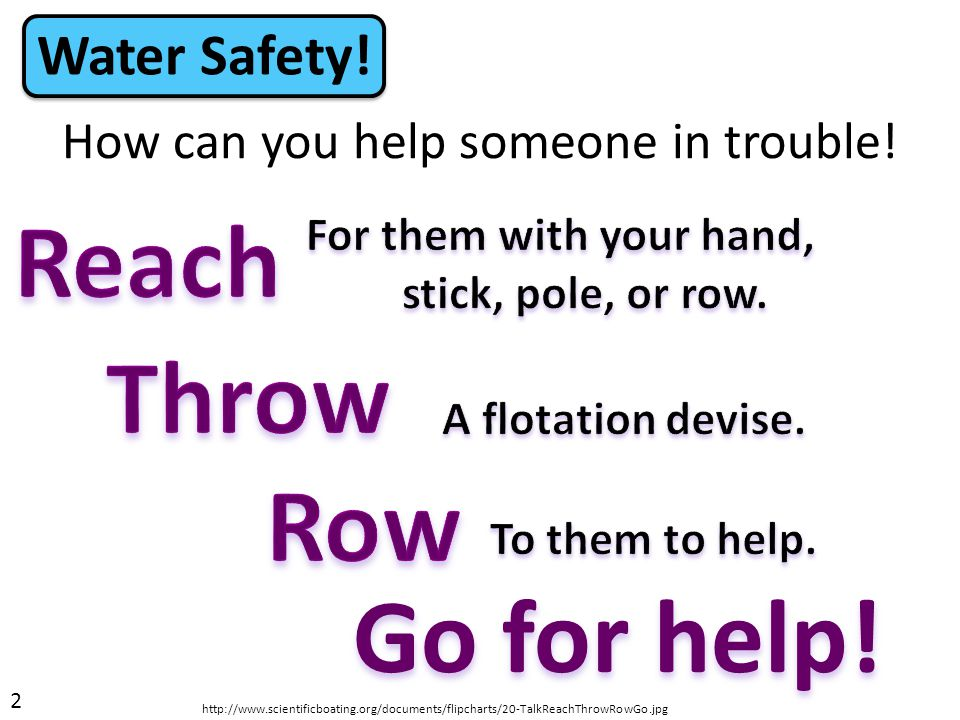How can you help someone in trouble! Water Safety! 2 Go for help! http://www.scientificboating.org/documents/flipcharts/20-TalkReachThrowRowGo.jpg