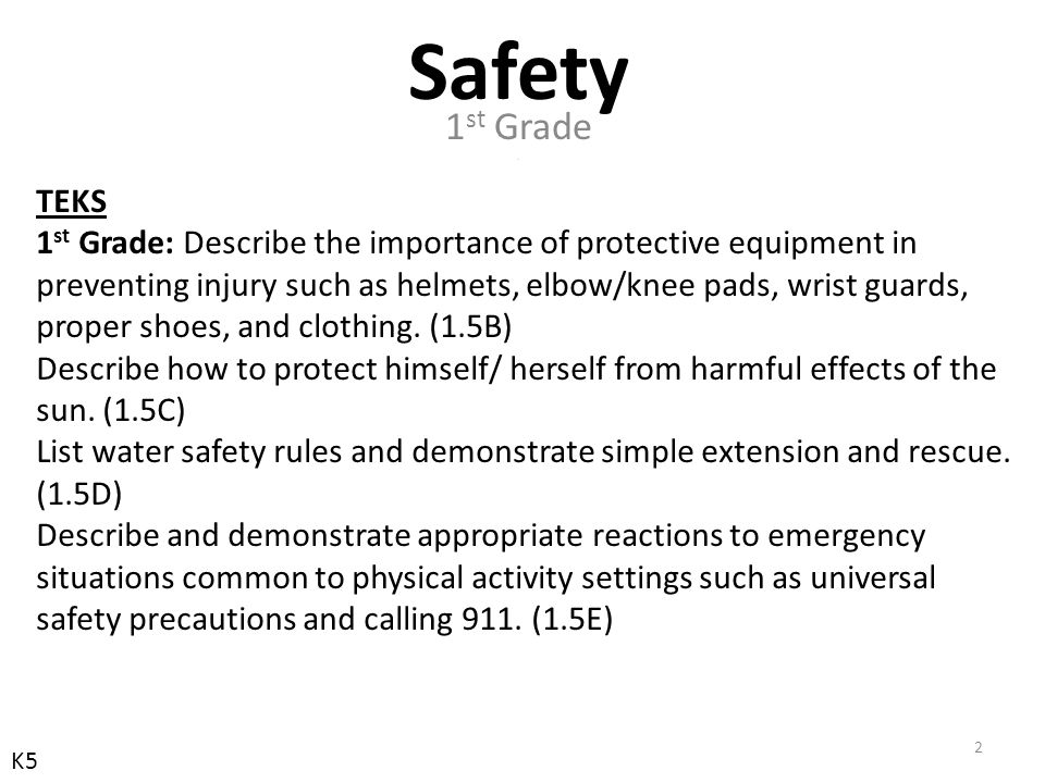 TEKS 2 nd Grade: Select and use appropriate protective equipment in preventing injuries such as helmets, elbow/knee pads, wrist guards, proper shoes, and clothing.