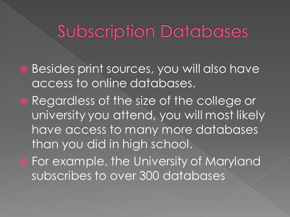 Subscription databases provide abstracts and full text articles from magazines, journals, newspapers, and Internet sites.