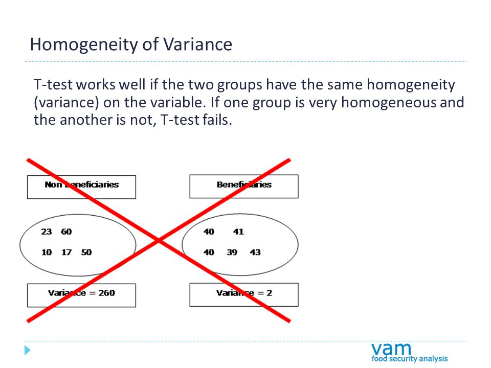Homogeneity of Variance T-test works well if the two groups have the same homogeneity (variance) on the variable.