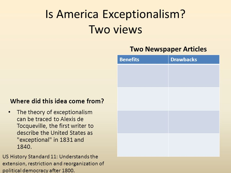 Is America Exceptionalism? Two views Where did this idea come from? The theory of exceptionalism can be traced to Alexis de Tocqueville, the first wri
