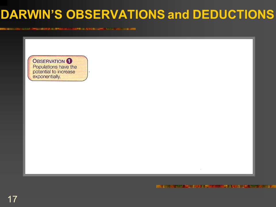 DARWIN'S OBSERVATIONS and DEDUCTIONS 17