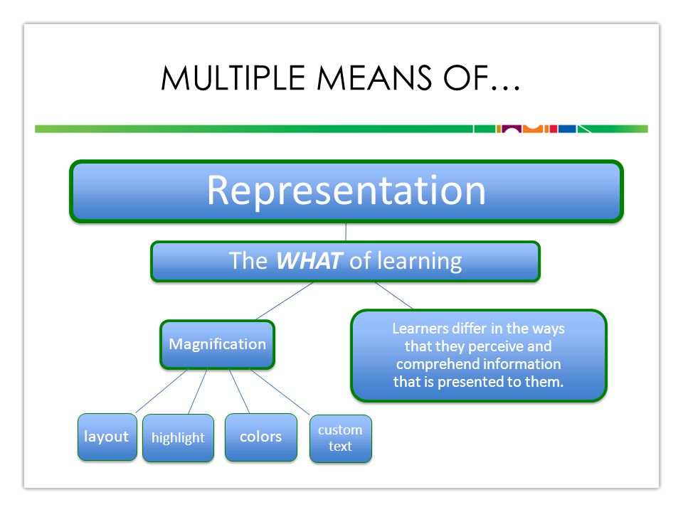 MULTIPLE MEANS OF… The WHAT of learning Representation Learners differ in the ways that they perceive and comprehend information that is presented to them.