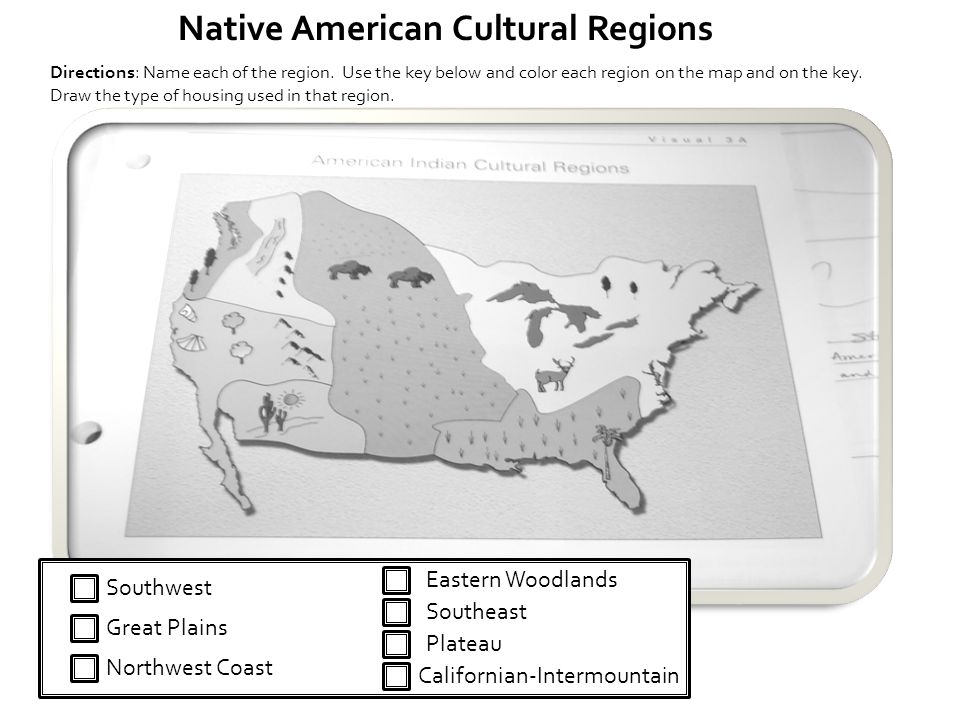 Northwest Coast Southeast Eastern Woodlands Plateau Southwest Great Plains Californian-Intermountain Native American Cultural Regions Directions: Name