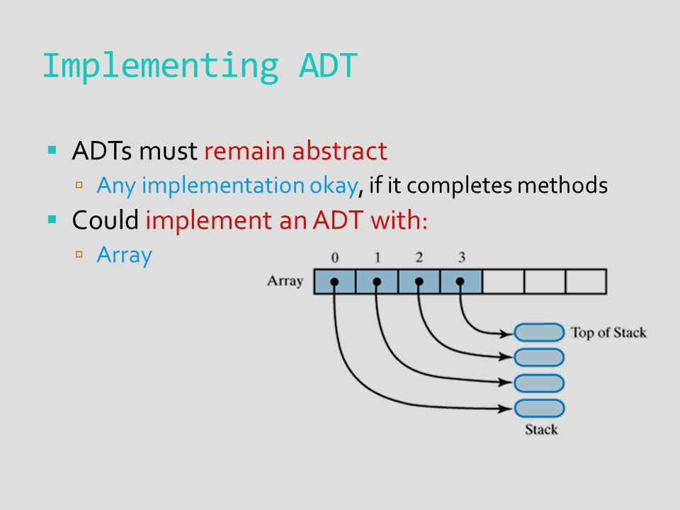  ADTs must remain abstract  Any implementation okay, if it completes methods  Could implement an ADT with:  Array Implementing ADT