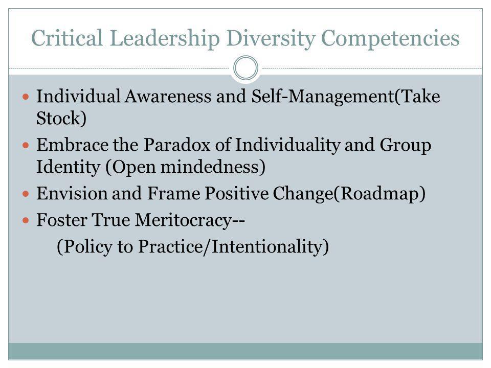 Critical Leadership Diversity Competencies Individual Awareness and Self-Management(Take Stock)