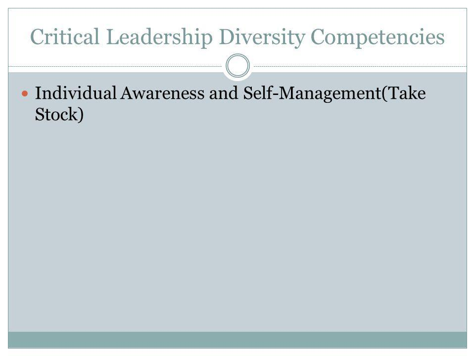 Critical Leadership Diversity Competencies Individual Awareness and Self-Management(Take Stock)
