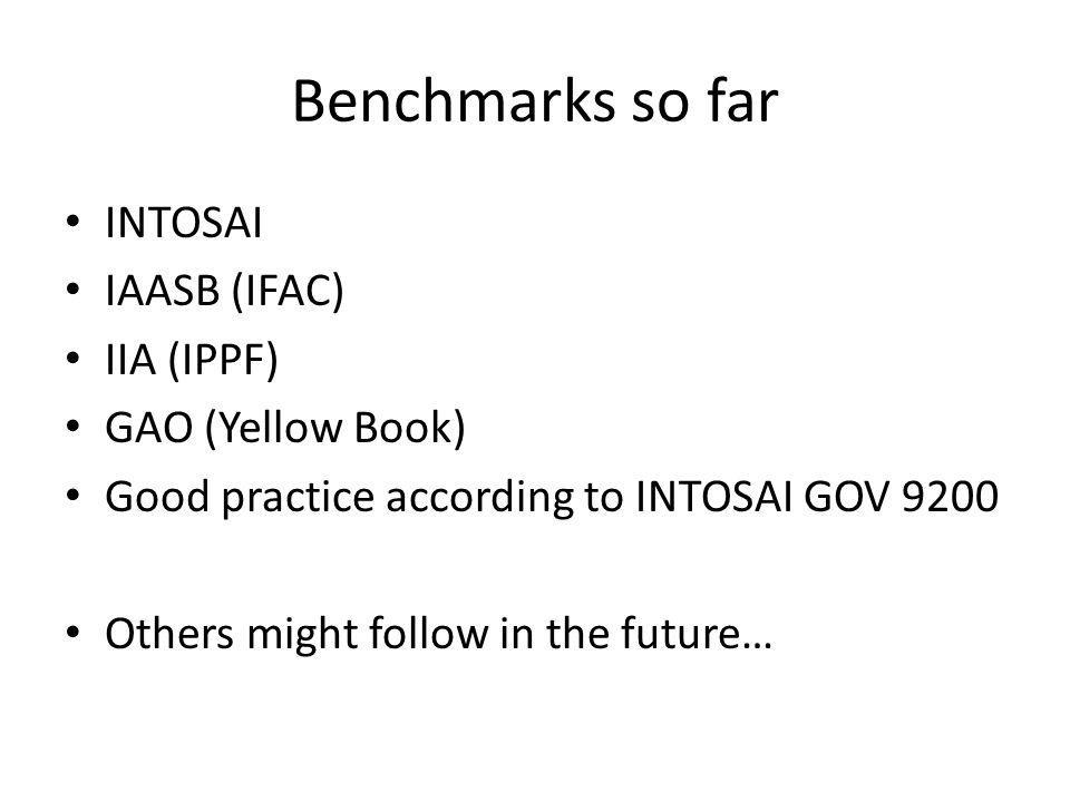 Elements of the benchmarking 1.Advisory body / stakeholder panel.