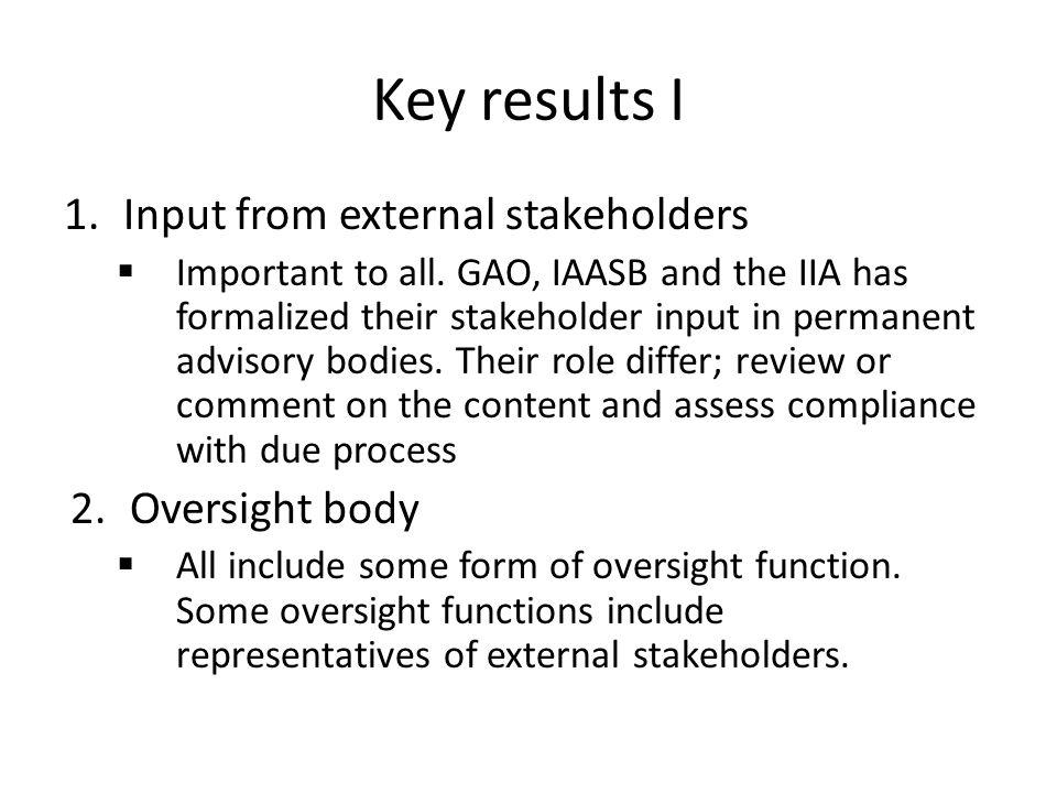 Key results I 1.Input from external stakeholders  Important to all.