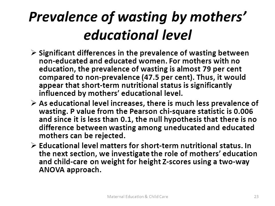 Prevalence of wasting by mothers' educational level  Significant differences in the prevalence of wasting between non-educated and educated women.