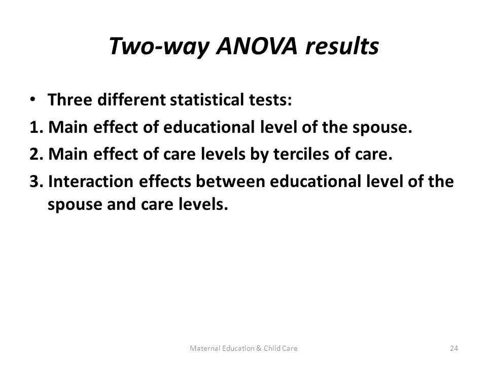 Two-way ANOVA results Three different statistical tests: 1.