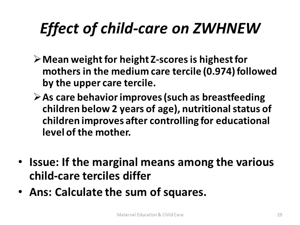 Effect of child-care on ZWHNEW  Mean weight for height Z-scores is highest for mothers in the medium care tercile (0.974) followed by the upper care tercile.