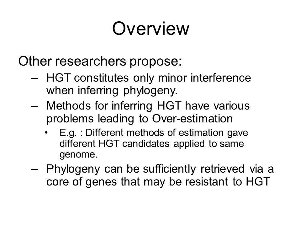 Overview Other researchers propose: –HGT constitutes only minor interference when inferring phylogeny.