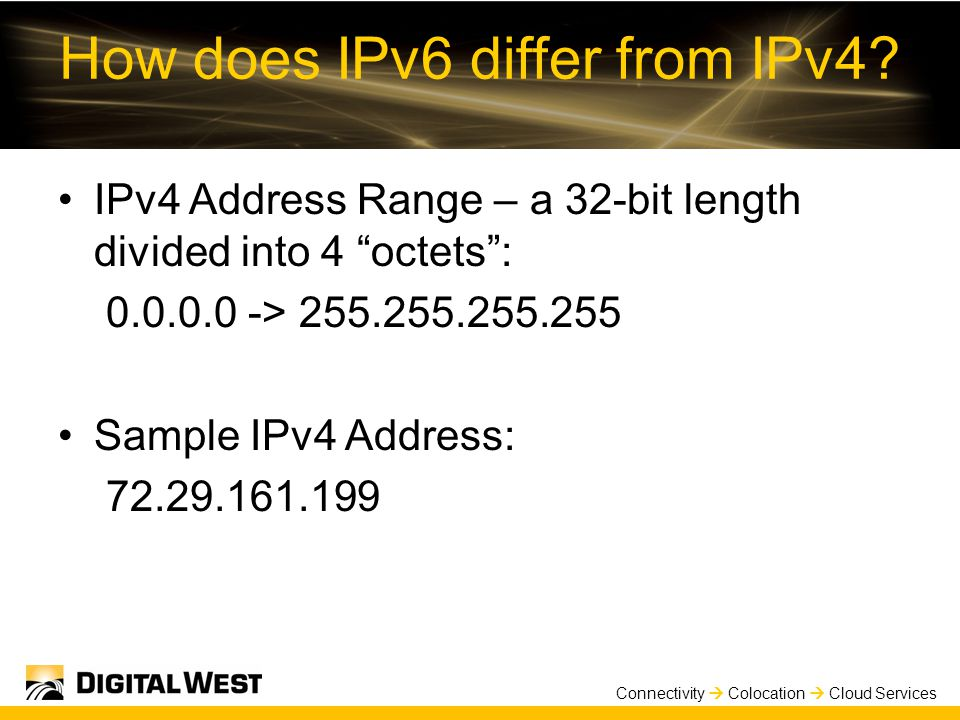 Connectivity  Colocation  Cloud Services How does IPv6 differ from IPv4.