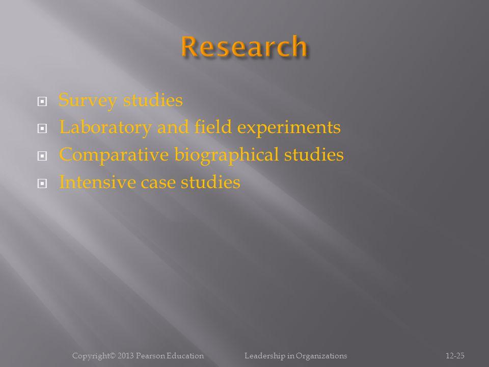  Survey studies  Laboratory and field experiments  Comparative biographical studies  Intensive case studies Copyright© 2013 Pearson Education Lead
