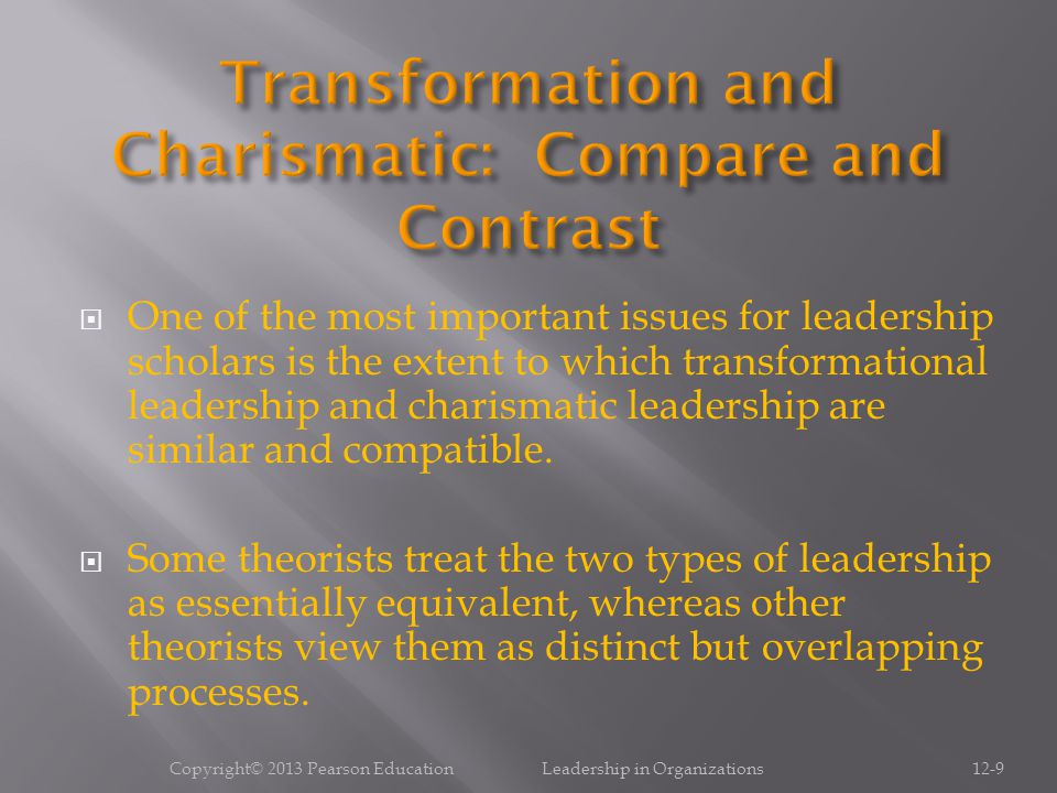 Copyright© 2013 Pearson Education Leadership in Organizations12-10 Understand how attributions of charisma are jointly determined by the leader, the followers, and the situation