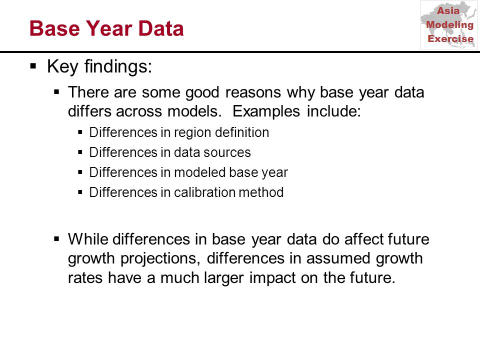 Base Year Data  Key findings:  There are some good reasons why base year data differs across models.