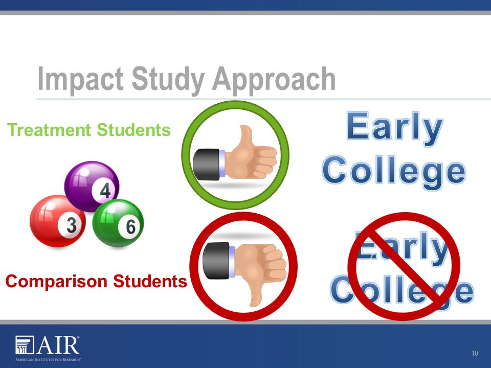 Impact Study Approach 10 Treatment Students Comparison Students