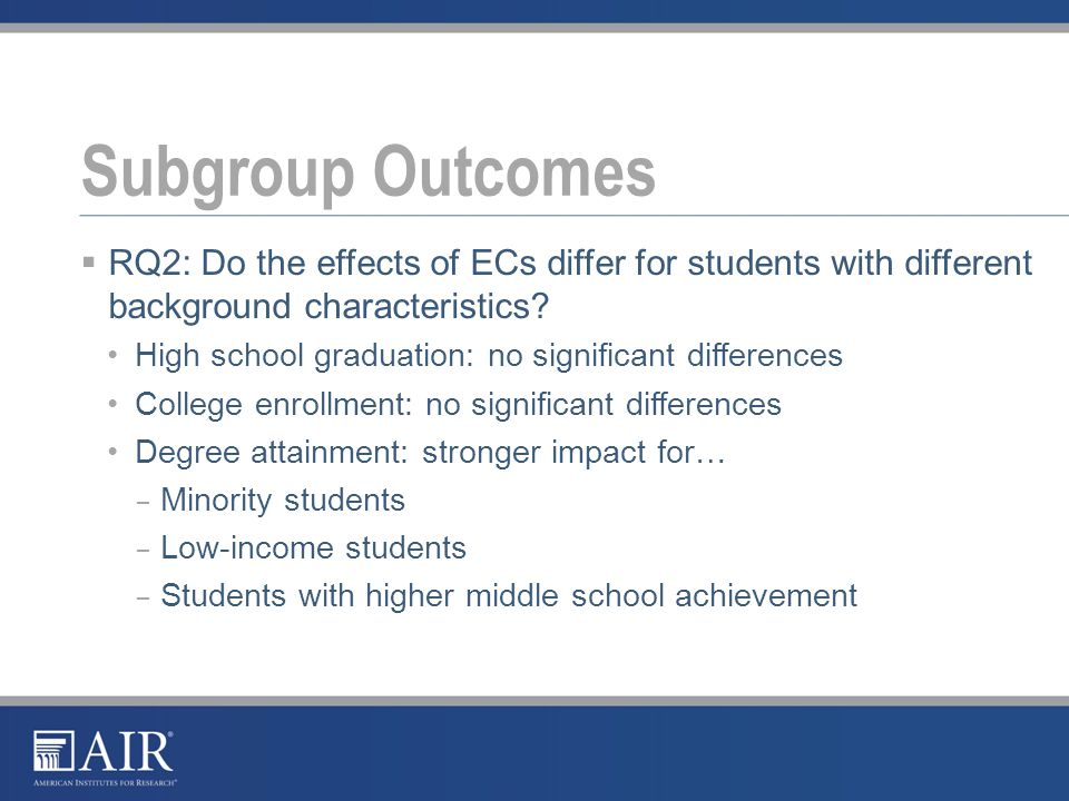  RQ2: Do the effects of ECs differ for students with different background characteristics.