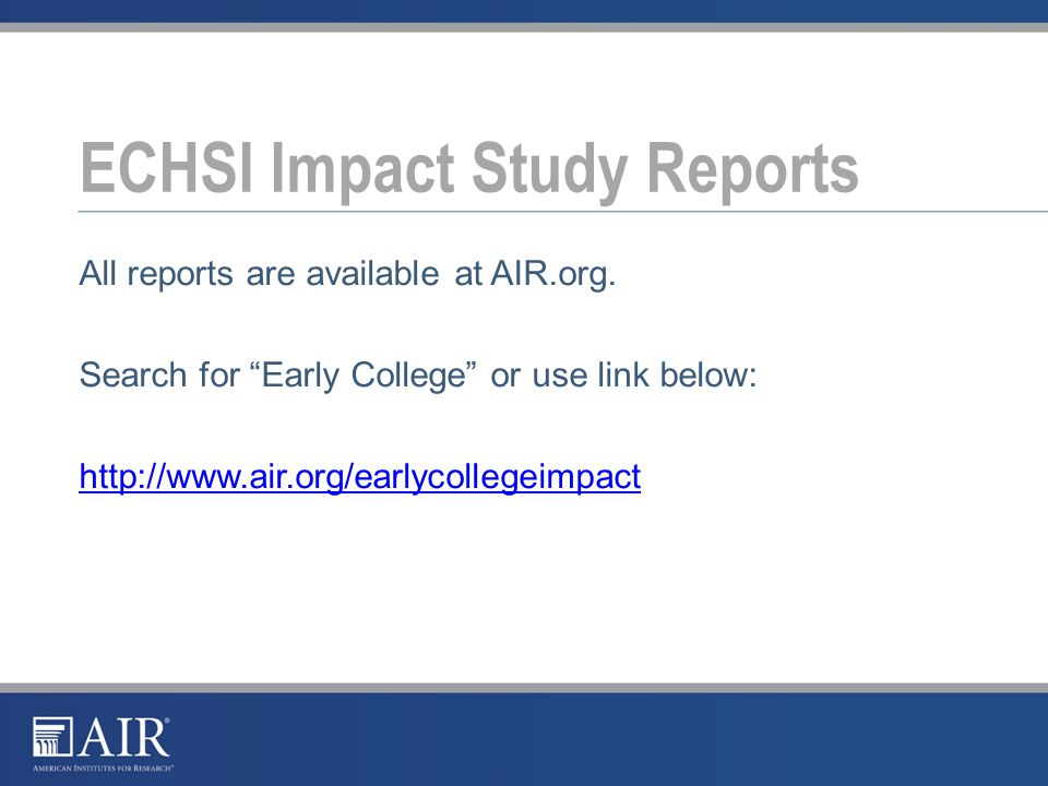 All reports are available at AIR.org.