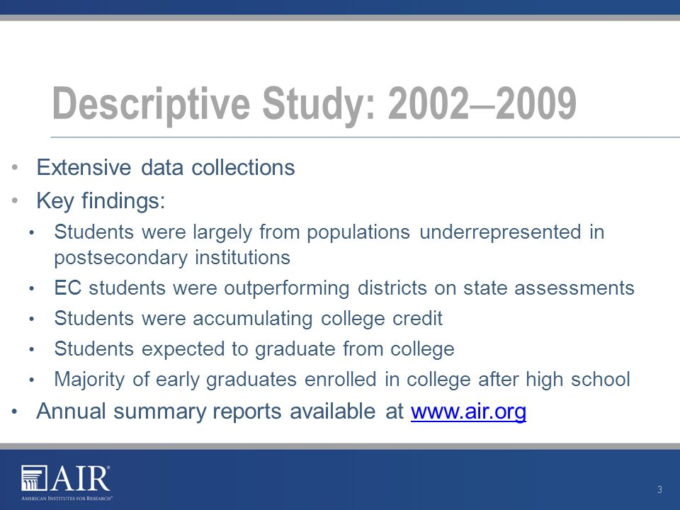 Promising findings from descriptive study but correlational evidence Two research questions 1.Do EC students have better outcomes than they would have had at other high schools.