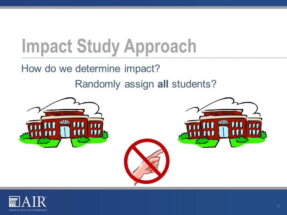 Impact Study Approach 8 Randomly assign some students How do we determine impact?