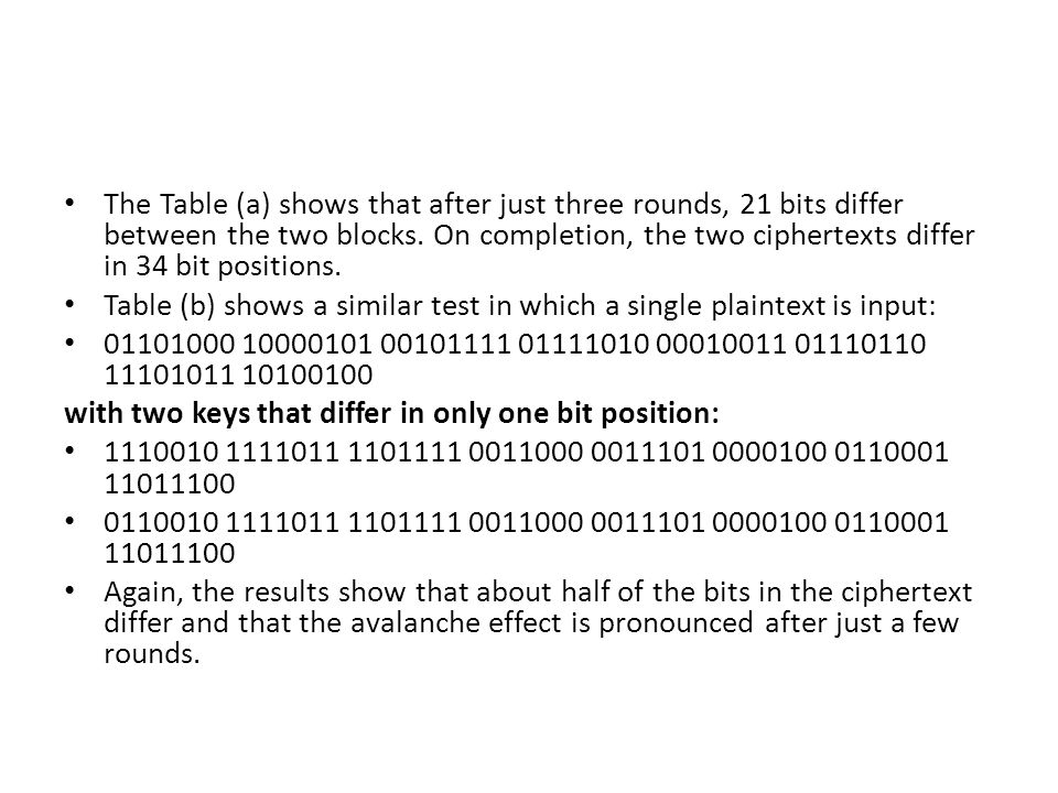 The Table (a) shows that after just three rounds, 21 bits differ between the two blocks.