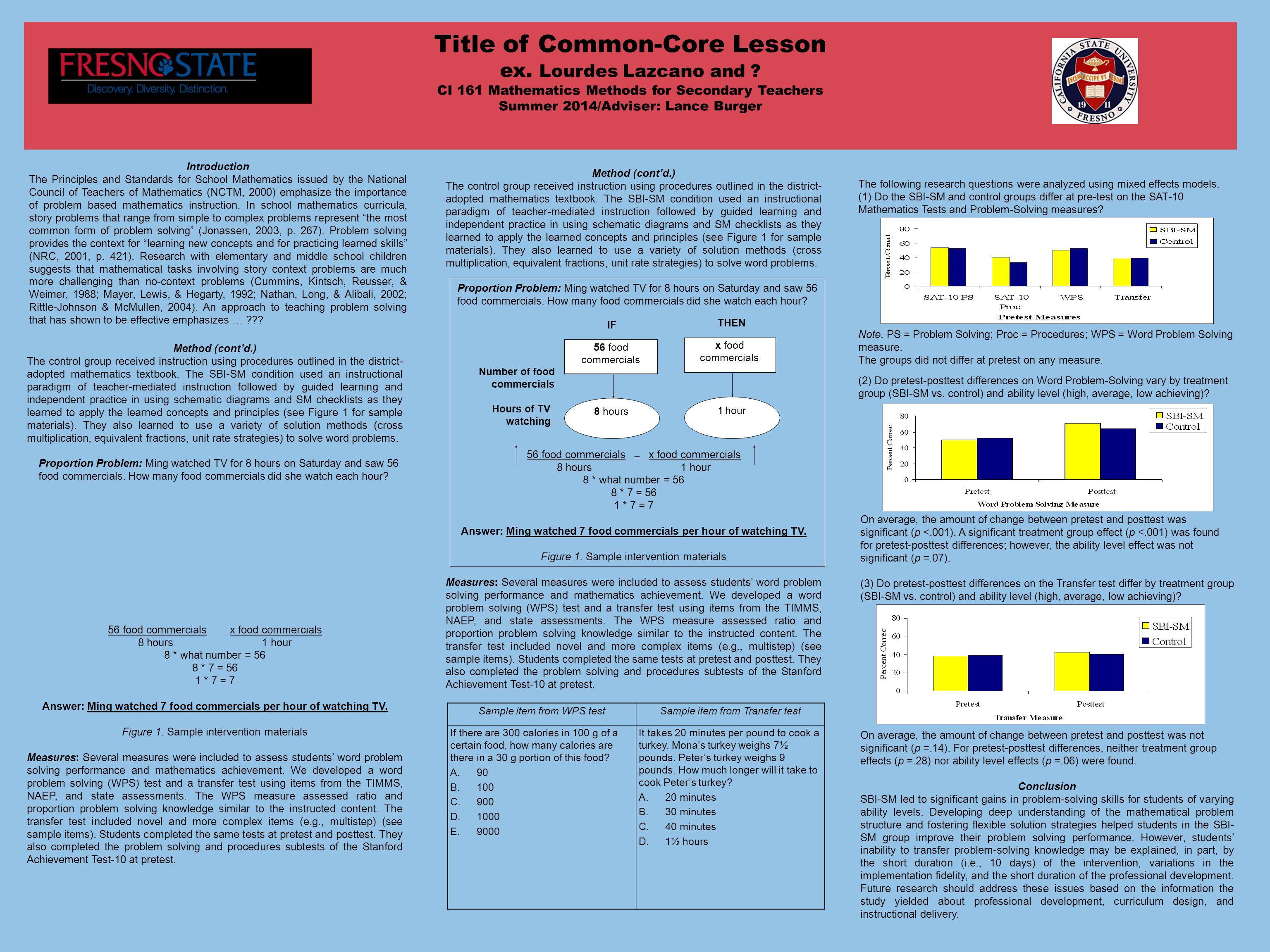 Title of Common-Core Lesson ex. Lourdes Lazcano and .