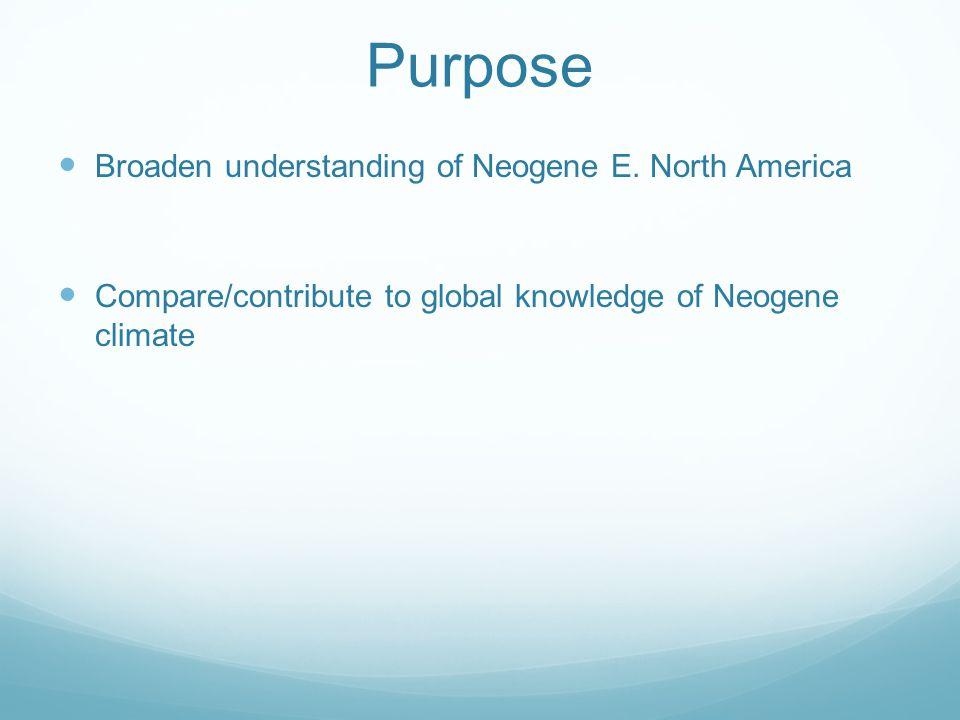 Purpose Broaden understanding of Neogene E. North America Compare/contribute to global knowledge of Neogene climate