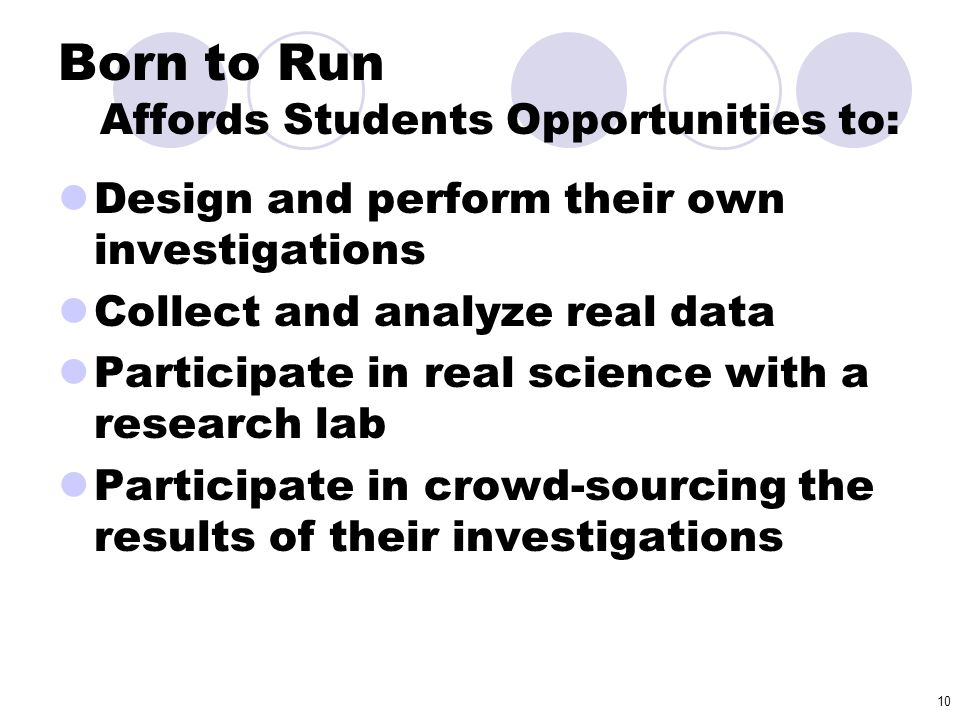 Born to Run Affords Students Opportunities to: Design and perform their own investigations Collect and analyze real data Participate in real science w