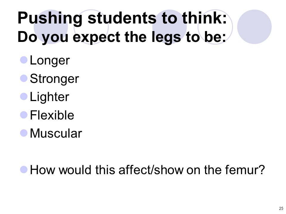 25 Pushing students to think: Do you expect the legs to be: Longer Stronger Lighter Flexible Muscular How would this affect/show on the femur?